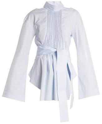 Teija - Cut Out Cotton Cady Wrap Top - Womens - Light Blue