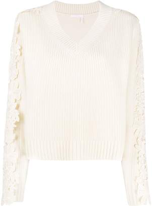 See by Chloe lace appliqué pullover