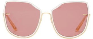 Atelier Moy Nobodys Darling Oversized Gold Plated Sunglasses - Womens - Pink