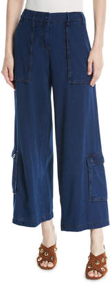 Leon Max Wide-Leg Basketweave Jeans w/ Large Pockets