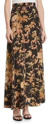 Zimmermann Unbridled Basque Floral-Print Maxi Skirt