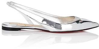 Christian Louboutin Women's V Dec Leather & PVC Flats - Silver