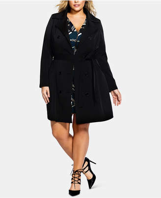 City Chic Trendy Plus Size Lace-Up Trench Coat