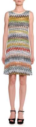 Missoni Crewneck Sleeveless Multi-Stripe Knit A-Line Dress