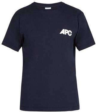 A.P.C. Burnette Logo Print Cotton Jersey T Shirt - Mens - Navy