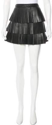 Intermix Leather Mini Skirt