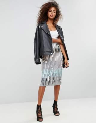 Asos DESIGN Pencil Skirt with Fringe Embellishment