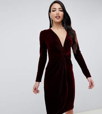 at ASOS · TFNC Tall Tall velvet midi wrap dress with twisted waistband in  burgundy 3e5063b3e0