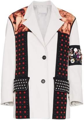 Prada embossed embellished leather jacket