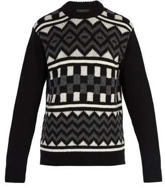 Prada Geometric Print Wool Sweater - Mens - Black