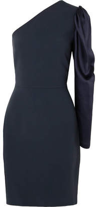Stella McCartney One-shoulder Satin And Cady Mini Dress - Navy