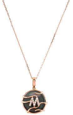 Frederic Sage 14K Mother of Pearl & Diamond Initial M Pendant Necklace