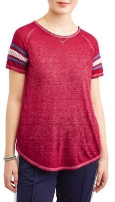 Poof! Juniors' Burnout Varsity Stripe Short Sleeve T-Shirt