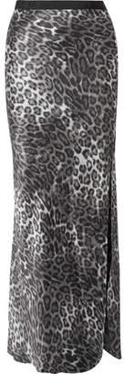 Nili Lotan Maya Leopard-print Silk-satin Maxi Skirt - Gray
