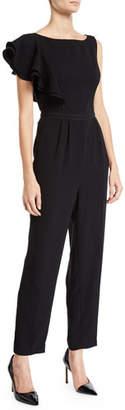 Shoshanna Haileah Straight-Leg Jumpsuit w/ Asymmetric Ruffle Sleeve