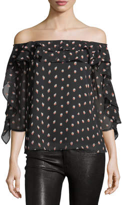 Collective Concepts Graphic-Print Off-the-Shoulder Blouse, Black-Red