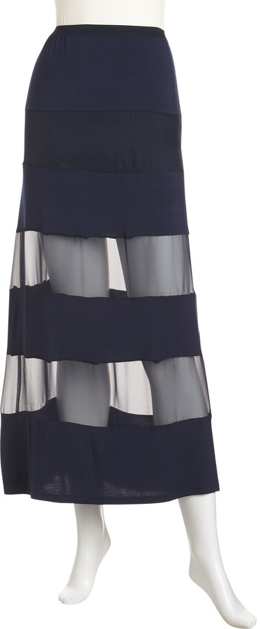 Alberto Makali Striped Maxi Skirt, Navy