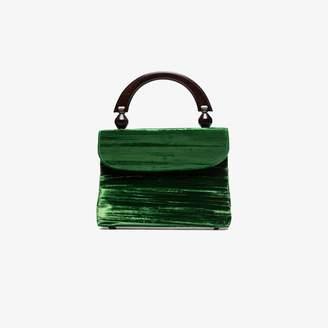 BY FAR Green fiona velvet tote bag