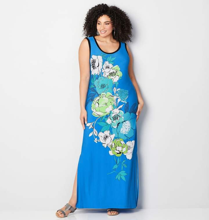 Placed Floral Sketch Maxi Dress