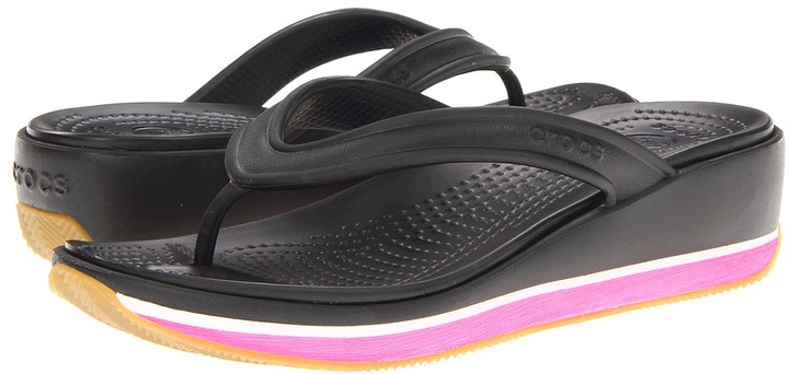 Crocs Retro Flip Wedge (Black/Fuchsia) - Footwear