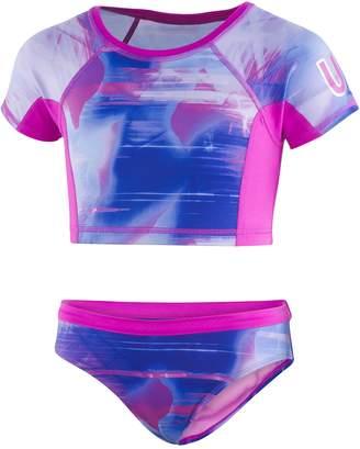 e9f6df9cf92 Under Armour Girls 7-16 Electo Galaxy Crop Rashguard Top & Bottoms Swimsuit  Set