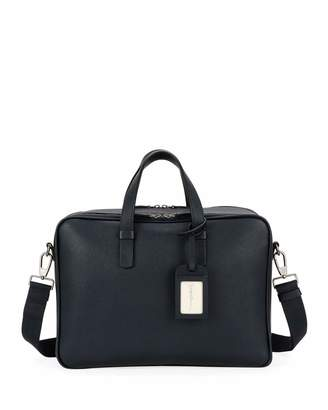 Giorgio Armani Men's Double-Zip Leather Briefcase Bag