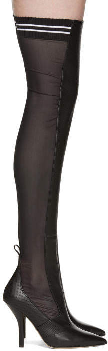 Fendi Black Mesh Thigh-High Boots