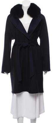 Sofia Cashmere Belted Fur Collar Reversible Wool Coat