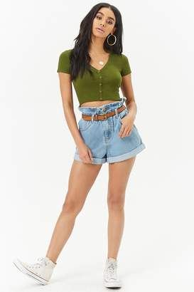 Forever 21 Ribbed Button-Front Crop Top