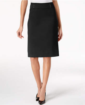 JM Collection Petite Rivet-Waist Pencil Skirt