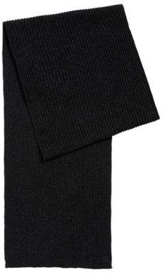 BOSS Hugo Ribbed scarf in a mouline cotton One Size Black