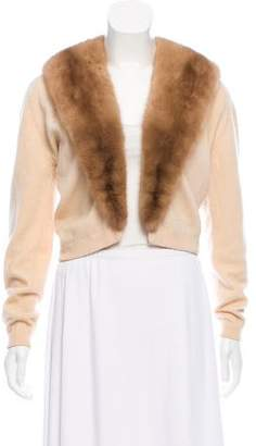 Pringle Cashmere Fur-Trimmed Cardigan