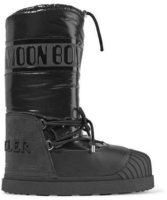 Moncler Moon Boot Venus Shell And Textured-leather Snow Boots - Black