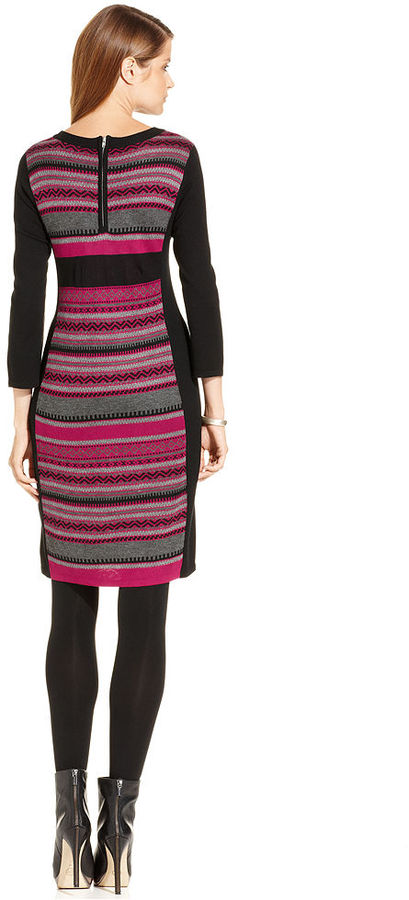NY Collection Dress, Three-Quarter-Sleeve Striped Sweater