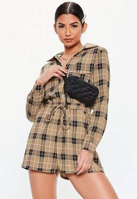 Missguided Camel Soft Check Elasticated Waist Shirt Playsuit, Camel