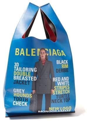 Balenciaga Ad Campaign Print Leather Tote - Womens - Red Multi