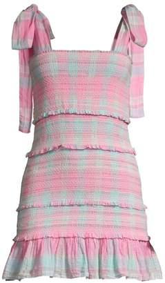 9cfd07c2f80ca LoveShackFancy Belle Plaid Tie Shoulder Smocked Dress