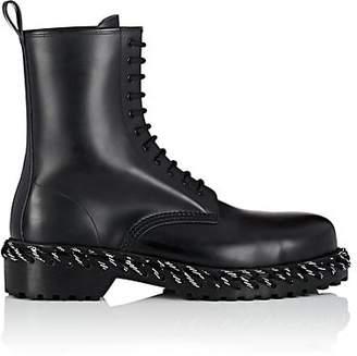 Balenciaga Men's Lacing-Detailed Leather Boots - Black