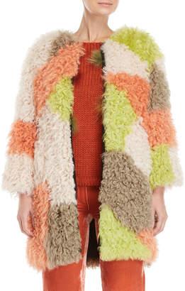 Blugirl Orange Color Block Kalgan Shearling Jacket