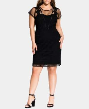 City Chic Trendy Plus Size Embroidered Lace Dress