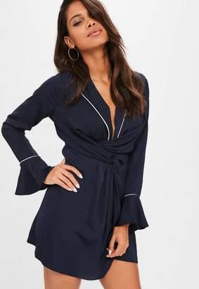 Missguided Navy Wrap Binding Shift Dress