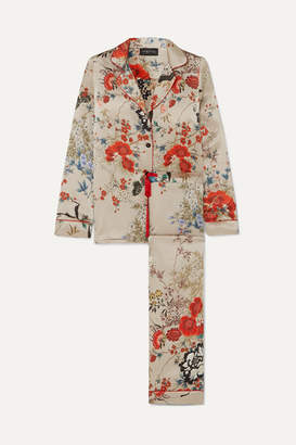 MENG - Printed Silk-satin Pajama Set - Red