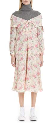 Junya Watanabe Mixed Media Floral Turtleneck Dress