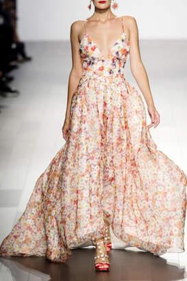 Badgley Mischka Sleeveless Print Gown