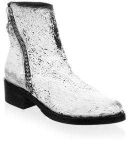 Frye Crackle Paint Patent Leather Booties