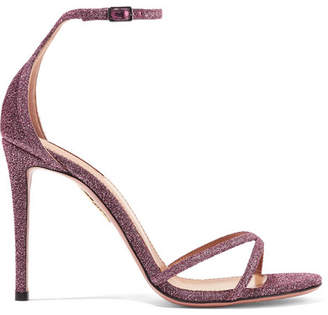 Aquazzura Purist Glittered Canvas Sandals - Pink
