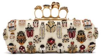 Alexander McQueen Knuckle Crystal And Bead Embroidered Clutch - Womens - Multi