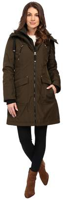 Jessica Simpson Quilted Fill Puffer with Hood and Fleece Bib Women's Coat