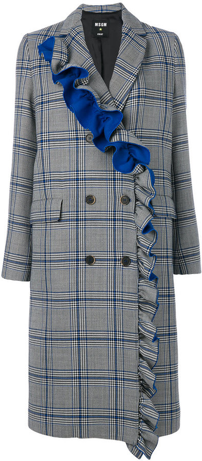 MSGM frilled checked double-breasted coat