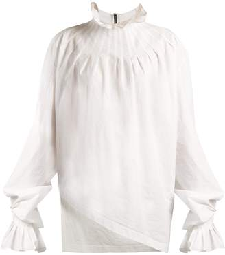 J.W.Anderson Pleated-neck cotton blouse